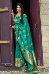 Elf Green Woven Banarasi Saree
