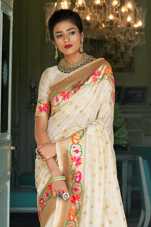 Gorgeous Ivory White Banarasi Saree