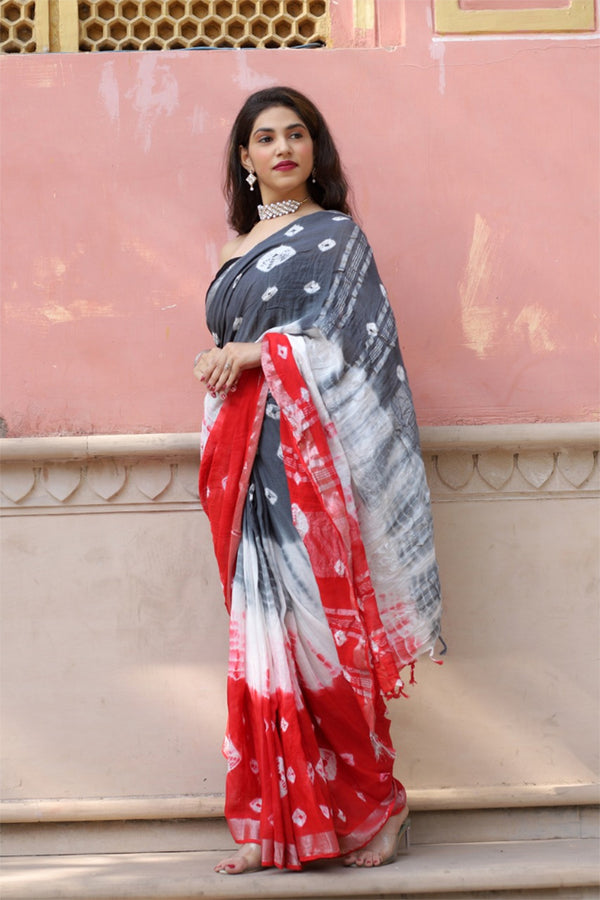 Multicolour Bagru Handblock Printed saree