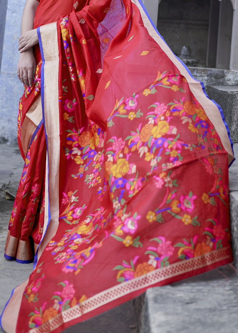 Roof Terracotta Red Zari Woven Banarasi Saree