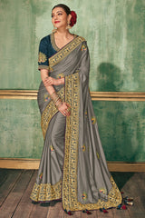 Squirrel Grey Woven South silk Saree