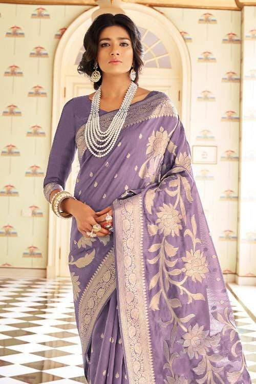 Lavender Purple Zari Woven Chanderi Banarasi Saree