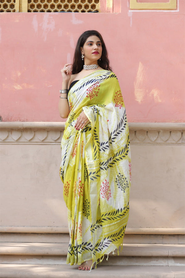 Roti Yellow Bagru Handblock Printed Saree