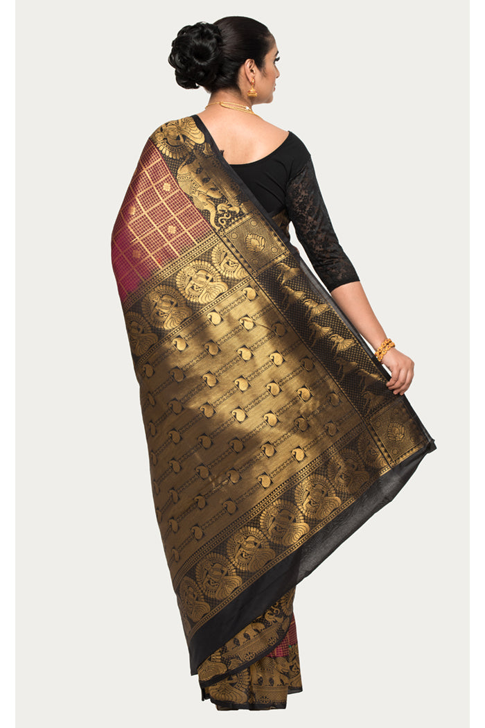 Cocoa Bean Brown Zari Woven Gadwal Silk Saree