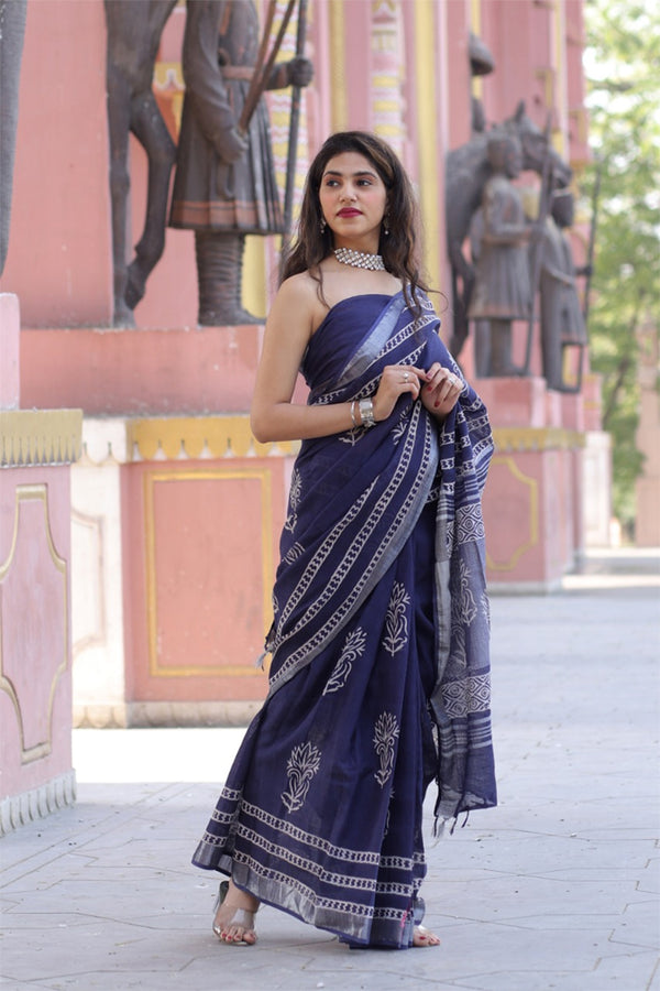 Gun Powder Blue Bagru Handblock Printed Saree