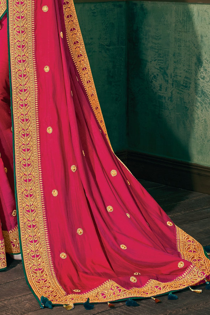 Big Dip O Ruby Pink Woven South Silk Saree