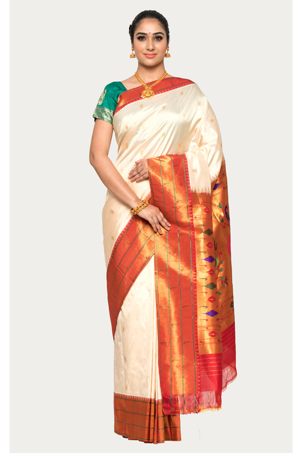 Aths White Handloom Pure Silk Paithani Saree
