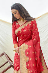 Persian Red Woven Banarasi saree