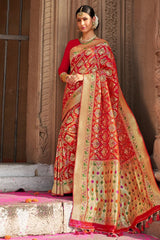 Bright Red Zari Woven Banarasi Saree