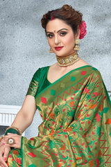 Golden Green Tissue Woven Paithani Saree