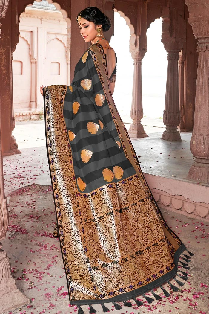 Fossil Grey And Black Zari Woven Banarasi Saree