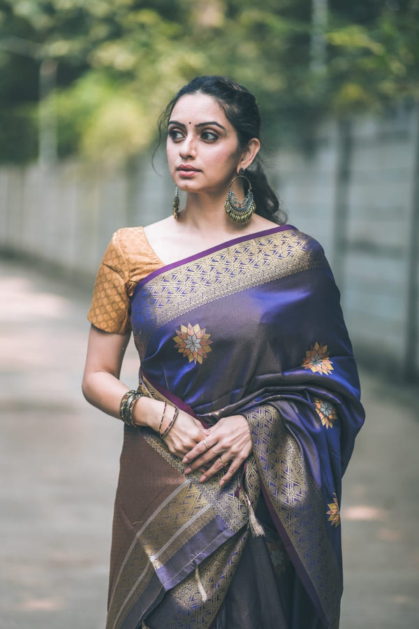 Falcon Blue Woven Kanjivaram Saree - Shruti Marathe Collection