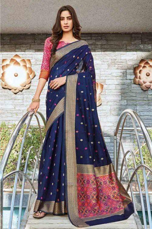 Port Gore Blue Linen Saree