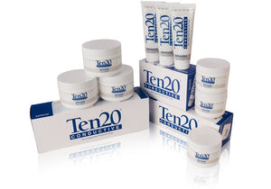 Ten20 products including packs of 3 jars, boxes of 3 tubes, and packs of mini jars by Weaver and Company