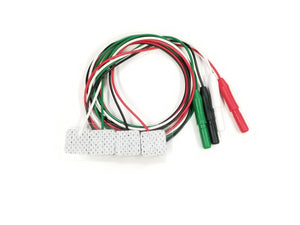 Wrapped for packaging 1025 EMG Disposable Surface Electrodes in Green, Black, Red, and White