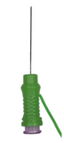 Close up of green BIOX-25 Hypodermic EMG Needle