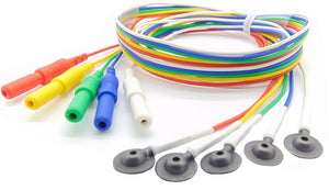 EEG Cups in sets of 5 with 1 meter Red Yellow Green Blue and White Lead-Wires