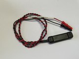 DDB-F30 black bar electrode, with red and black braided lead-wires and touch proof safety socket connectors