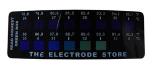 Temperature Strip from The Electrode Store showing skin temperature is 90.5 degrees F or 32.5 degrees C
