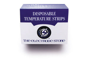 Box of Disposable Temperature Strips. 57mm X 19mm, 16 events from 26 degree C to 33.5 degree C.