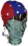 Large Medium red and blue EEG cap on glass head