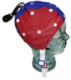 Red and blue EEG cap on glass head for medium/large size