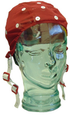 Red medium EEG cap on glass head