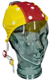 Medium small yellow and red EEG cap on glass head