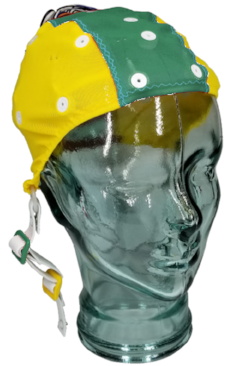 Yellow and green Small/Extra small EEG cap on glass head