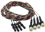 72 inch Lead-wire extensions in braided black, green, red, and white lead-wires for touch proof safety socket