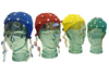 EEG Cap series on glass heads from size large in blue to medium in red to small in yellow and extra small in green