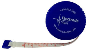 Tape measure in centimeters with Electrode Store logo on tape measure casing