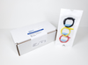 White box of 30 EEG or aEEG needle electrodes 62056 / 62057 / PRO-E3 of red yellow and black lead-wire colors