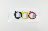 Sterile peel pouch of 3 aEEG needle electrodes with black, yellow, and red lead-wires