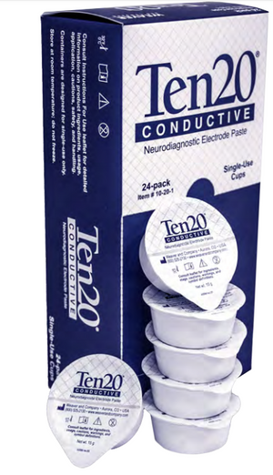 Single-use 0.5oz Ten20 mini cups of Neurodiagnostic Electrode Paste