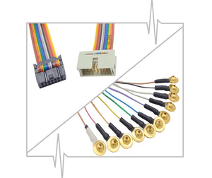 Gold plated EEG cup electrodes with rainbow quick connect lead-wire strand