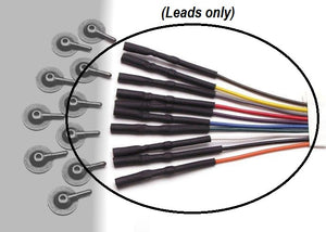 Lead-wires for EEG cups in brown, yellow, gray, red, purple, blue, green, white, black, and orange