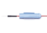 Red lead-wire with retractable baby-blue protectrode cap