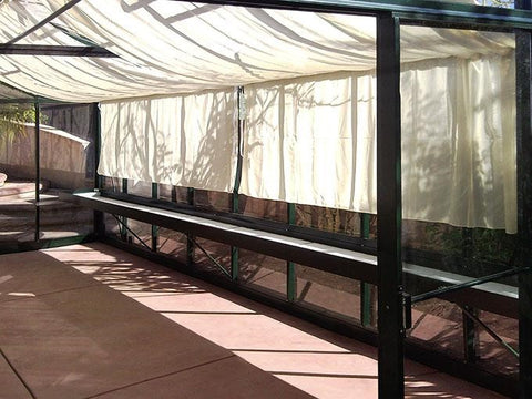 Shades on the roof of a greenhouse