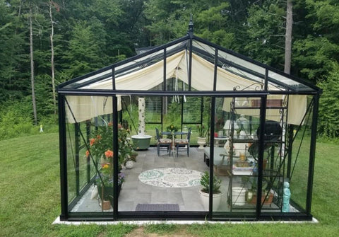 A greenhouse with shade cloth