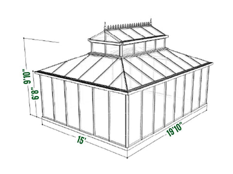 Exaco Cathedral Victorian Orangerie Greenhouse 15ft x 20ft - Mulberry Greenhouses - {product_vendor] - Hobby Greenhouse