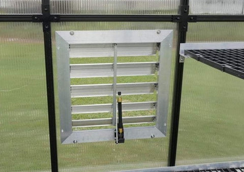 "Image of RSI 18"" Louver Wall Mounted Window with Solar Powered Opener - Mulberry Greenhouses"