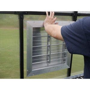 "RSI 18"" Louver Wall Mounted Window with Solar Powered Opener - Mulberry Greenhouses"