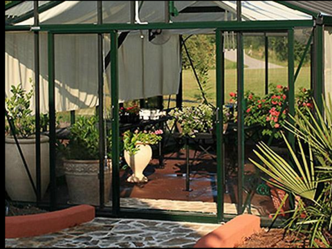 Image of Exaco Janssens Royal Victorian Greenhouse Single OR Double Sliding Door - Mulberry Greenhouses