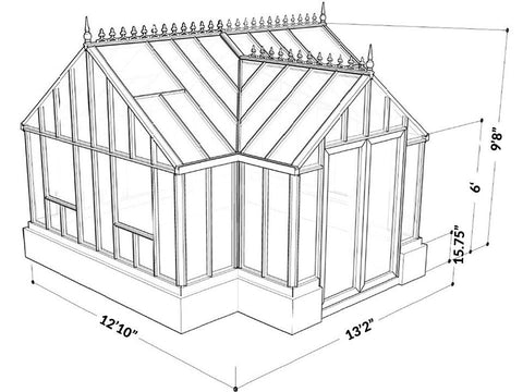 EOS T-Shaped Royal Antique Victorian Greenhouse 13ft x 13ft - Mulberry Greenhouses - {product_vendor] - Hobby Greenhouse