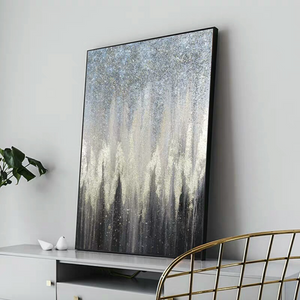 'Escape' Blue & Black Abstract Oil Painting