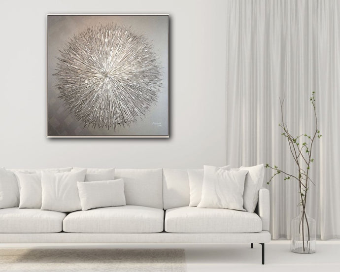Silver Abstract Oil Painting