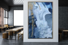 Load image into Gallery viewer, Blue & Gold Abstract Oil Painting