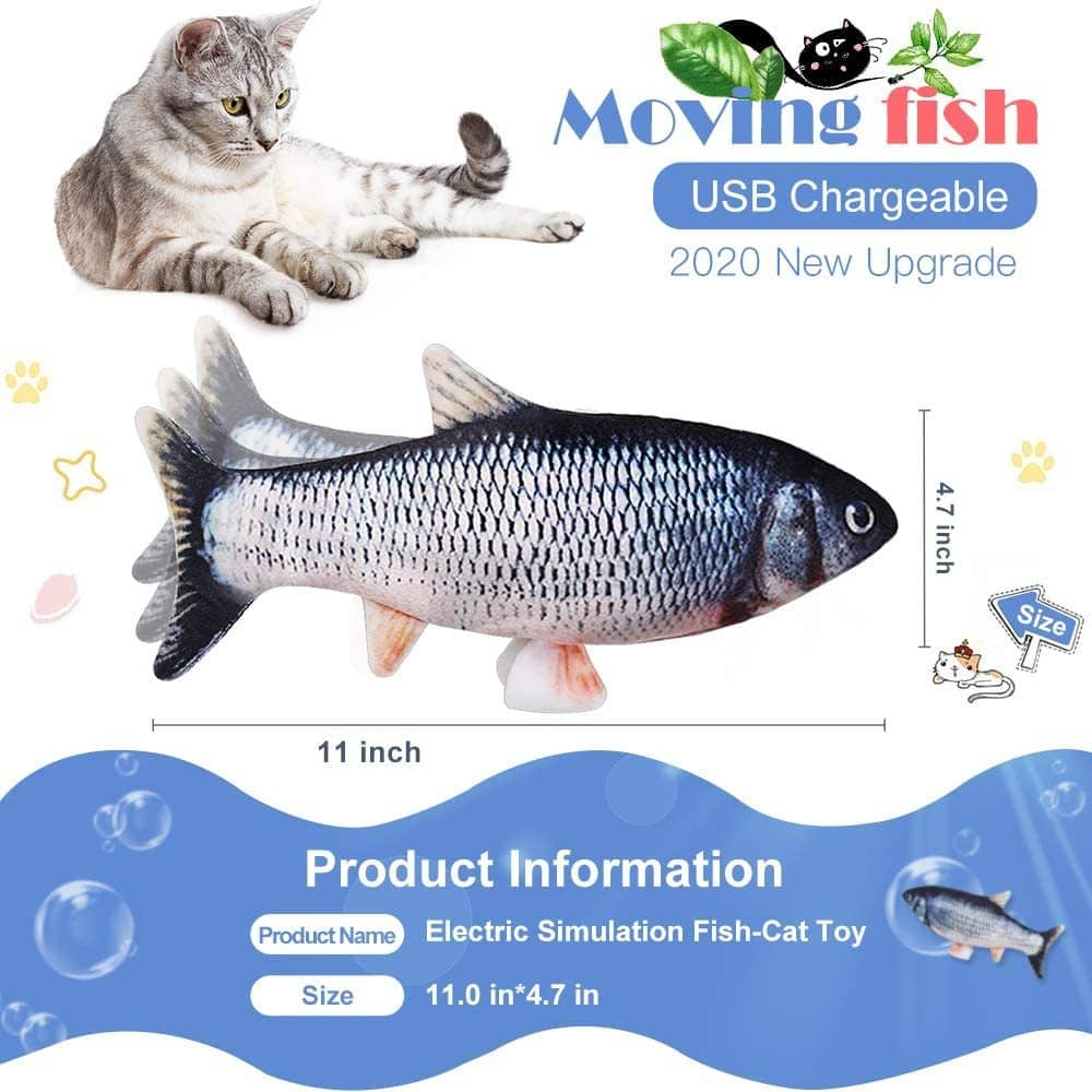 Electric Moving Fish Cat Toy Size