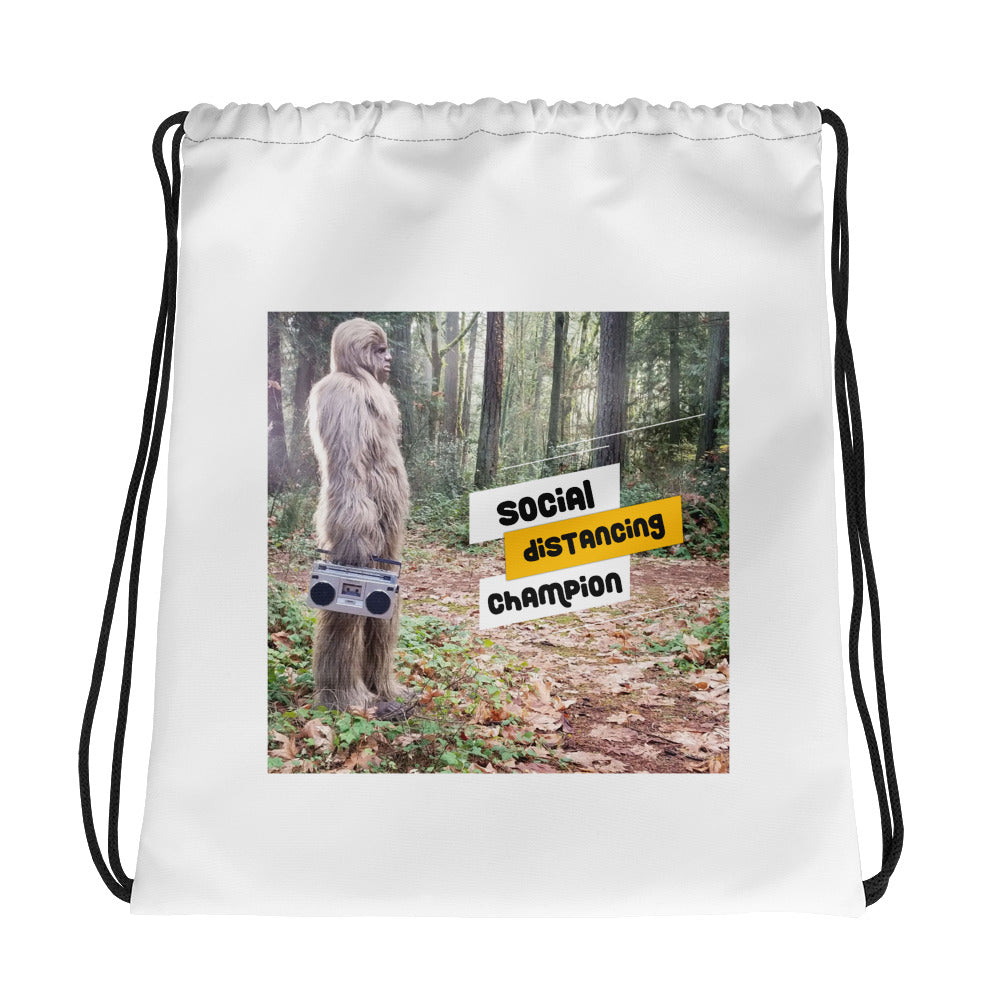 Social Distancing Bigfoot Drawstring Gym Bag